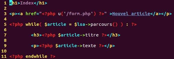 Code du fichier de patron de la page article.